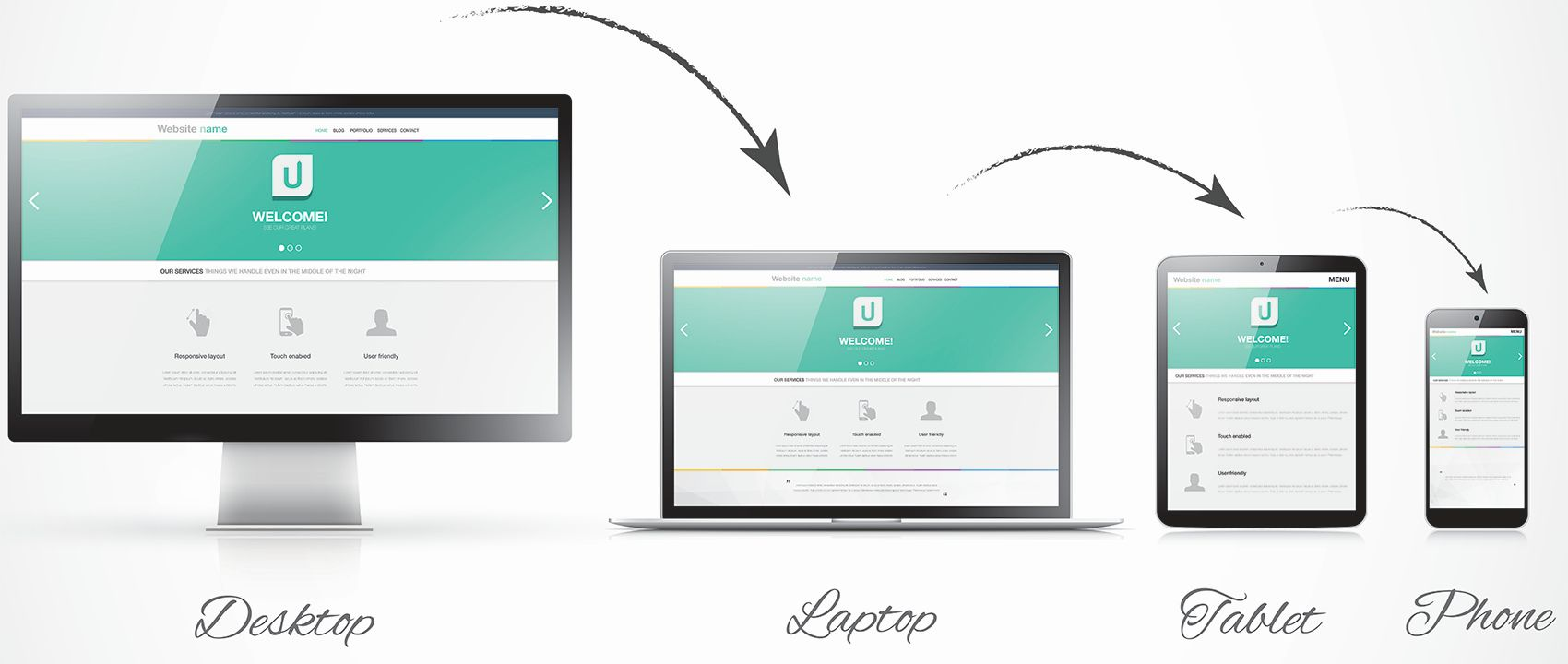 Responsive web design vector four devices with arrows 1700 compressed